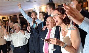 2016 UK votes to leave EU...Leave supporters celebrate the result in Sunderland after polling stations closed