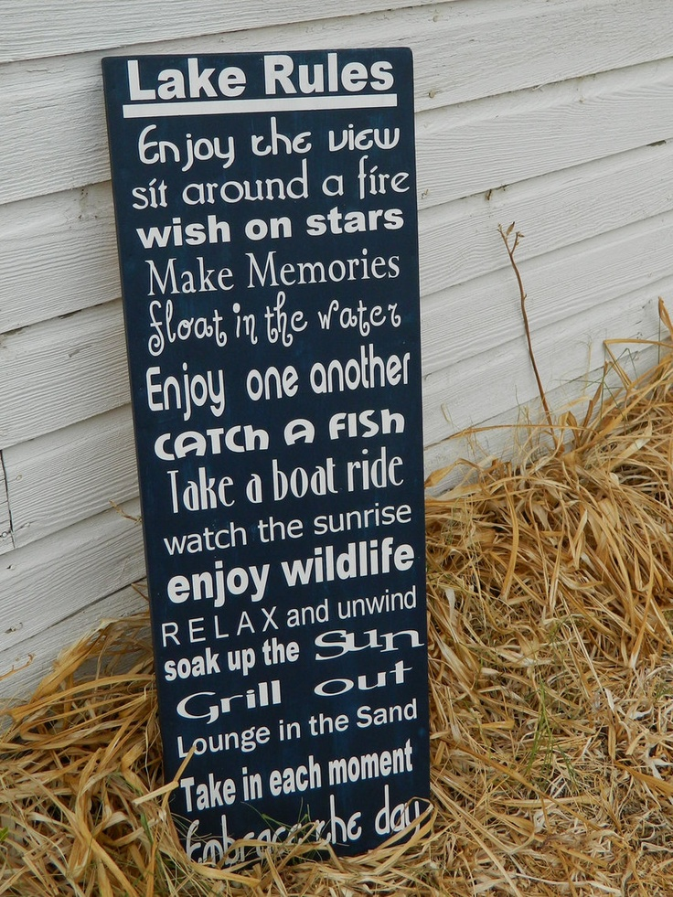 Primitive Lake sign, Navy blue and white-great for a lake house