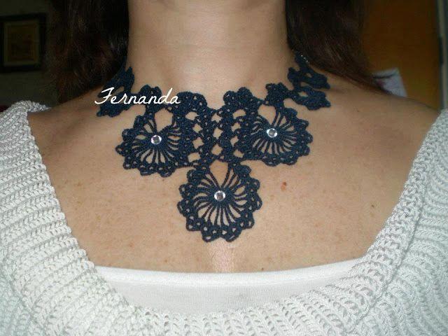 Black crochet necklace ♥LCJ♥ with diagram ---- Solo esquemas y diseños de crochet: COLLAR A CROCHET