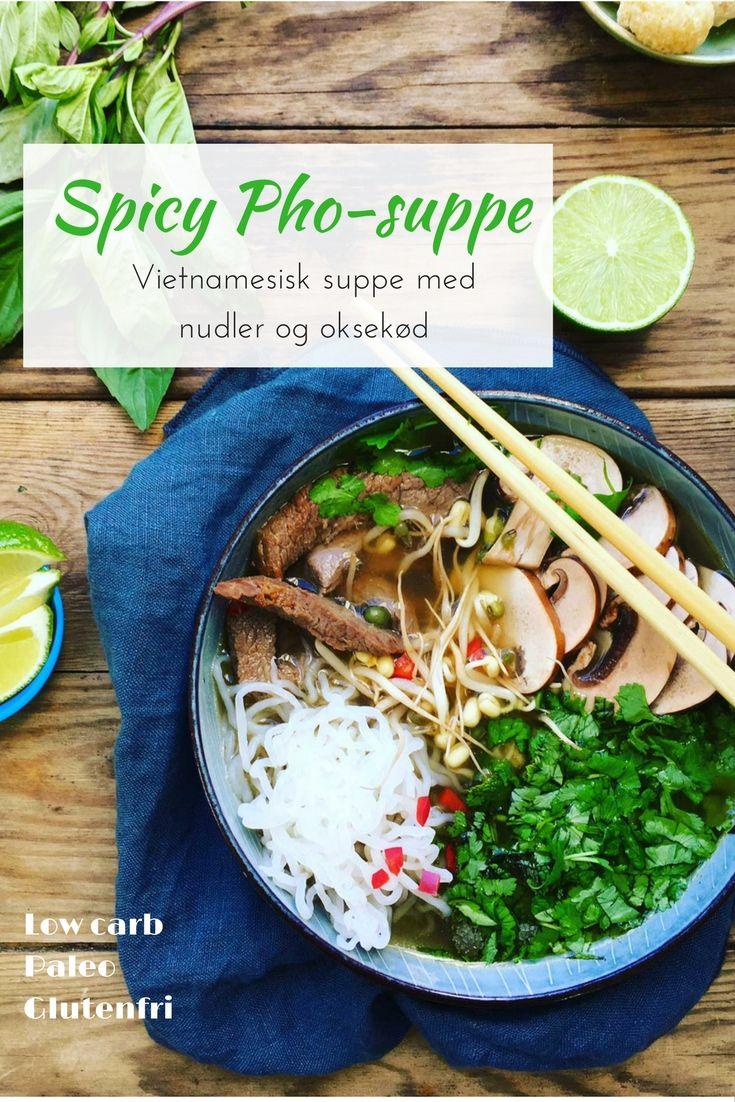 Spicy Pho - vietnamesisk suppe med nudler og oksekød - lavet med shiratakinudler for en low carb version. God smag, få kulhydrater. Opskrift her: