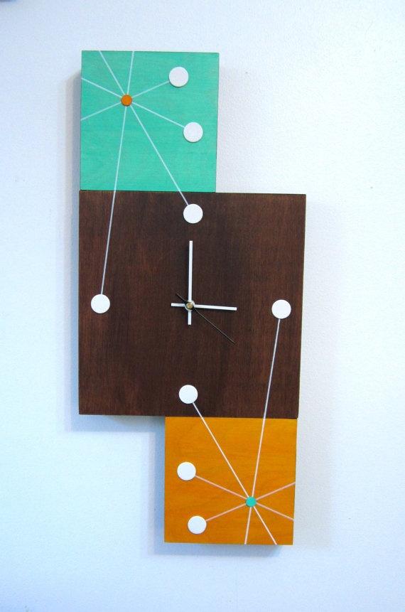 Atomic Retro Starburst Mid Century Style Clock by by TikiQueenArts, $99.00