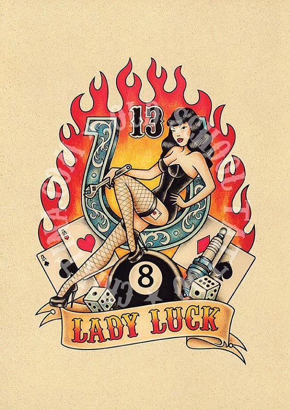 T13. LADY LUCK. ferro di cavallo, 8, candela, Flash del tatuaggio. Tatuaggio della vecchia scuola. illustrazione, Download istantaneo del tatuaggio. Illustrazione di stampabile.