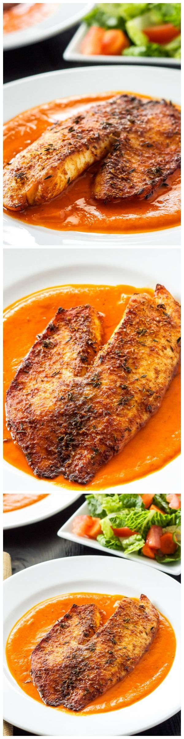 Broiled tilapia fillets with a crispy parmesan crust on top. Serve them with this delicious roasted red pepper sauce for a healthy and easy to make dinner!