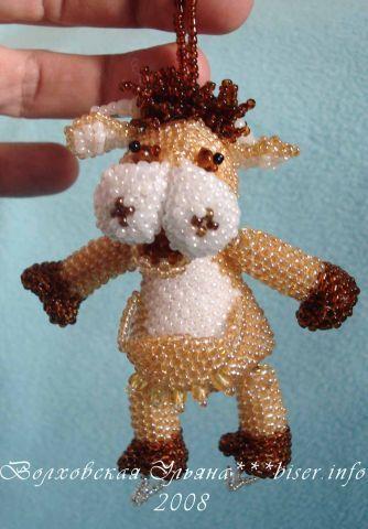 Beaded cow TUTORIAL experienced beaders - OK - it's not beautiful, but it's cute!