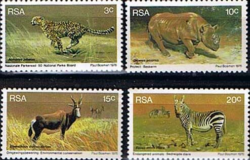 South Africa 1976 World Environmental Day Animals Set Fine Mint SG 404 7 Scott 465 8 Other South African Stamps HERE