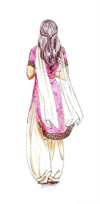 I love this sketch.  I love sketches, I love Indian dresses and I always wear my hair this way.  3 fold favoritism right here.Eu amo este esboço. Eu amo esboços, Eu amo vestidos indianos e eu sempre uso o meu cabelo assim. 3 dobrar favoritismo aqui.