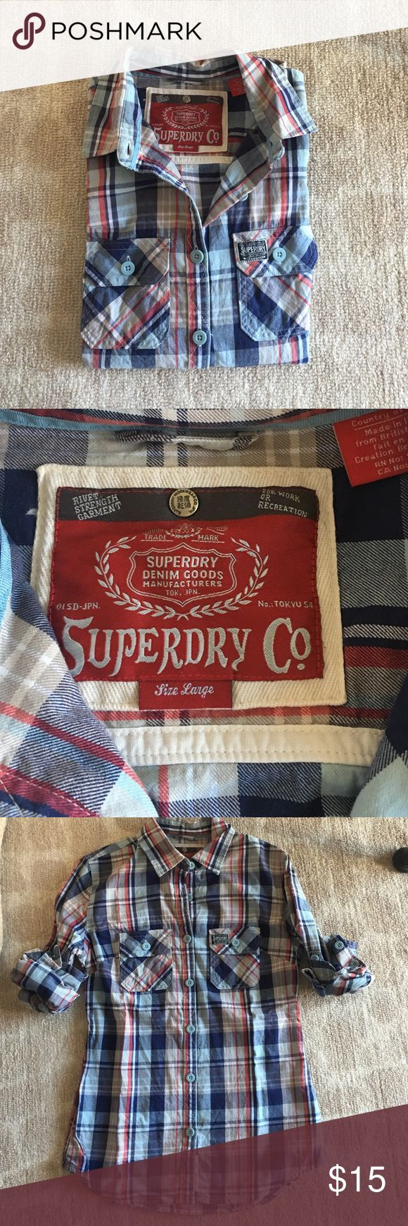 """Superdry Plaid Shirt Plaid shirt, light weight. Size """"Large"""" but runs very small. Closer to a small or xs. Excellent condition! Superdry Tops Button Down Shirts"""