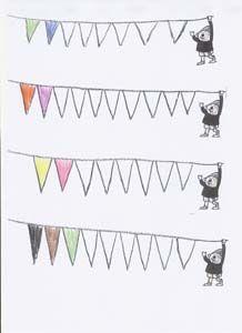 Kleur de vlaggetjes van de slinger