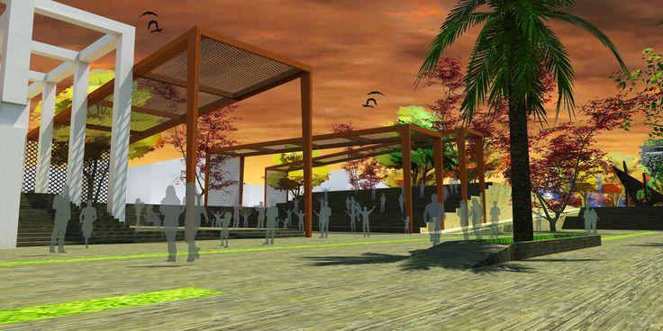 Perspectiva Auditorio al aire libre espacio público de la propuesta.