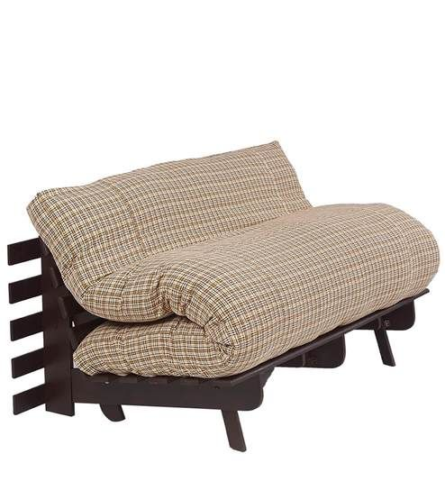 Double Futon Sofa Bed With Mattress In Brown Check Colour By Arra