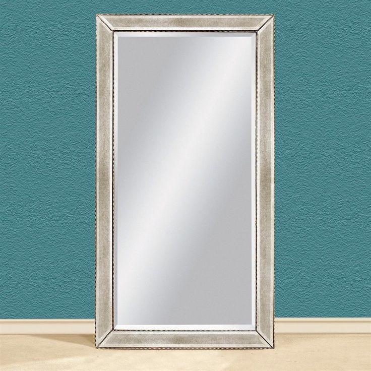 Bassett Mirror Company 44-in x 79-in Antique Mirror Beveled Rectangle Framed Contemporary Floor Mirror
