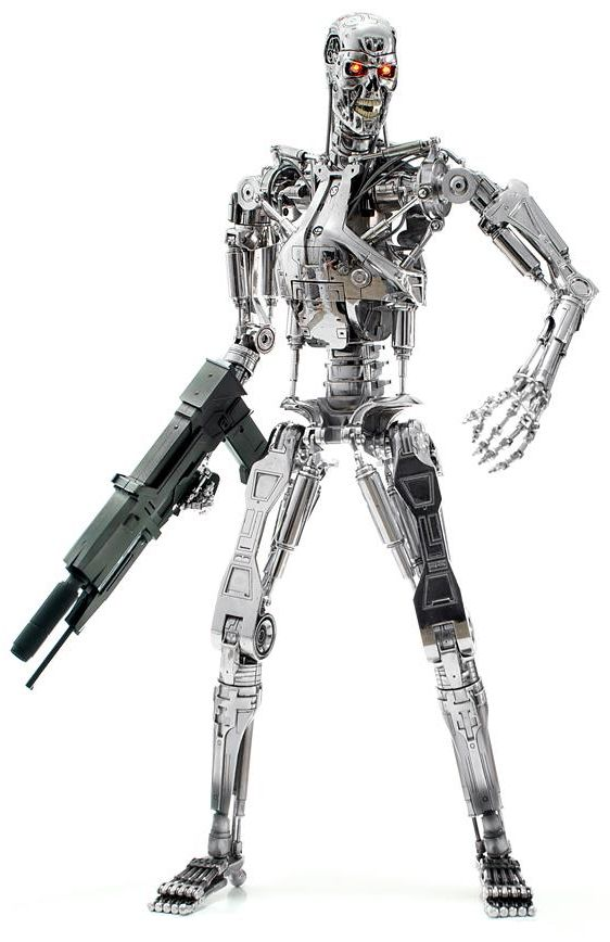 The Cyberdyne Systems Series 800 Terminator[1][2], or simply T-800, is a type of Terminator mass-produced by Skynet.  The T-800 Terminator was Skynet's first cybernetic organism, with living tissue over a hyperalloy endoskeleton. This made it Skynet's first successful Infiltrator unit, capable of infiltrating the Resistance.