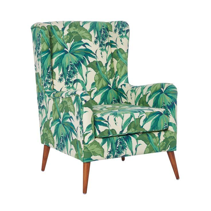Dieser Sessel zieht die ganze Aufmerksamkeit auf sich. Der Bezug des Sessels ist mit grünen Blättern und Pflanzen gemustert. Mit diesem besonderen Aussehen blüht Ihr Wohnzimmer neu auf und Sie können sich entspannt zurücklehnen.