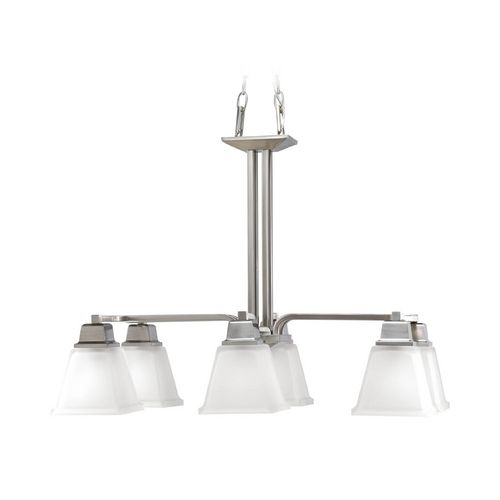 Progress Chandelier with White Glass in Brushed Nickel Finish | P4003-09 | Destination Lighting