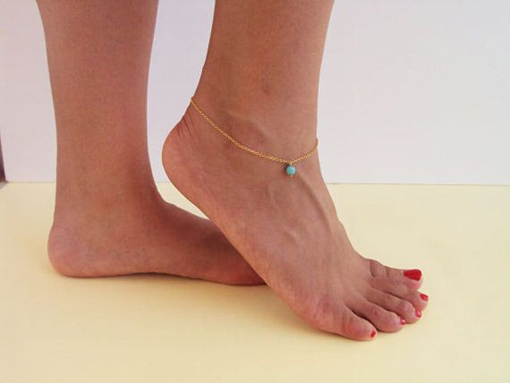 14K Gold Crystal Anklet Turquoise Anklet by VasiaAccessories
