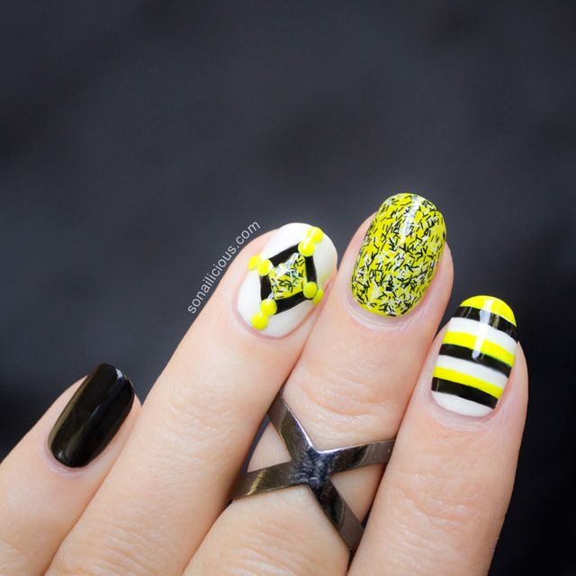 Neon Nails - Bonus Design from the Fuzzy Nail Art guide. Click for more info.