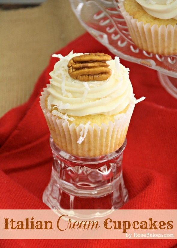 Italian Cream Cheese Cupcakes     #cake #frosting #icing #coconut