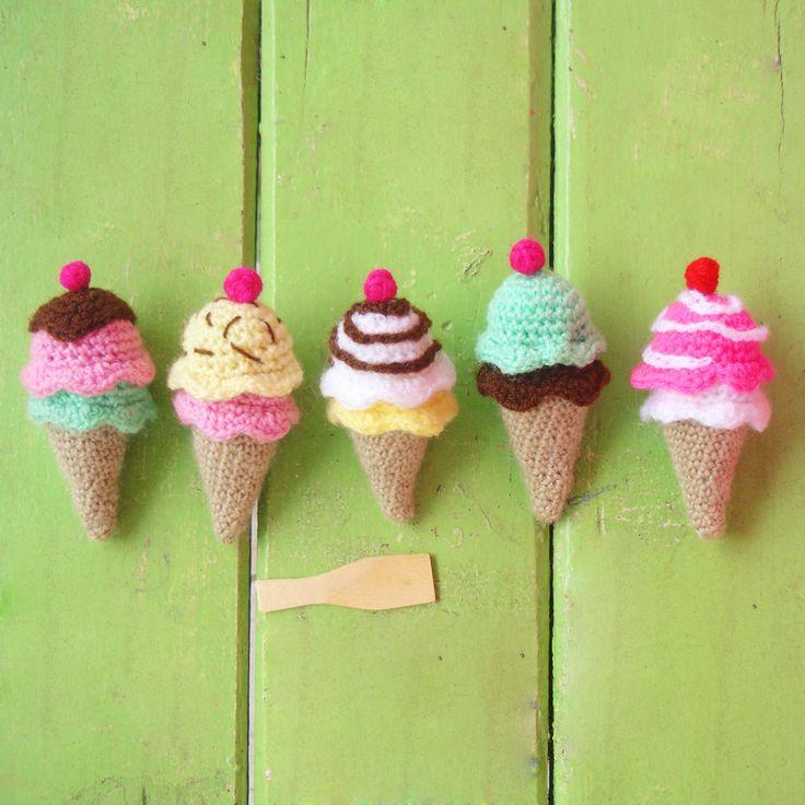 ice cream Crochet Toy Pattern   amigurumi PDF ebook - beginner tutorial - rattle, toy or mobile baby crochet pattern
