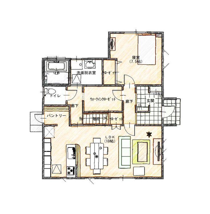 玄関すぐ収納。来客用と家族用玄関。寝室はLDKの横にして、和室に