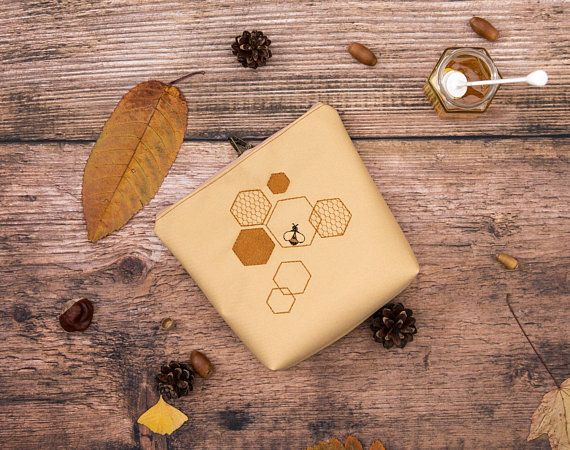 Tan Honey Bee Embroidered Cosmetic bag