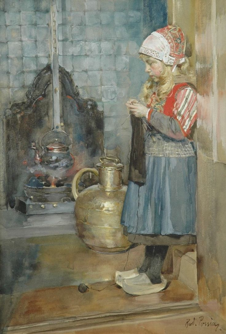 Markens breistertje bij een schouw, aquarel op papier 27,0 x 19,0 cm., gesigneerd r.o.