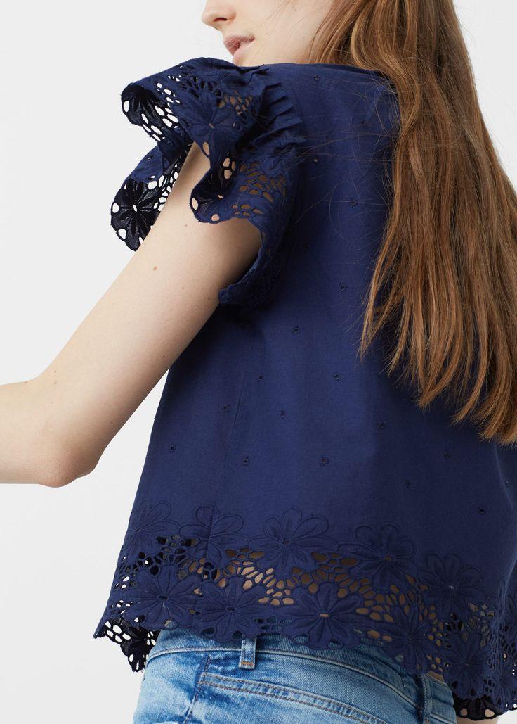 Bluse mit stickerei -  Damen   MANGO Deutschland