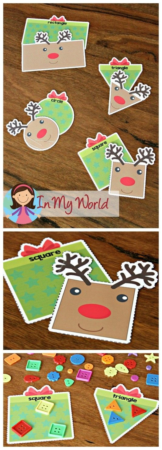 FREE Christmas Preschool Centers Shapes