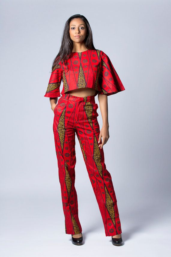 Crop Top Festival Top Tribal Top Boho Top Red Crop by COLUFashion ~African fashion, Ankara, kitenge
