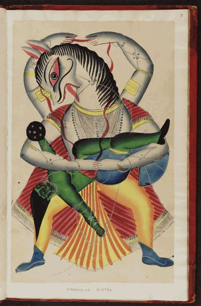 "'The Narasimha (man-lion) Avatar' (1875) from the ""Kalighat Indian Gods"" album. via Oxford digital library"