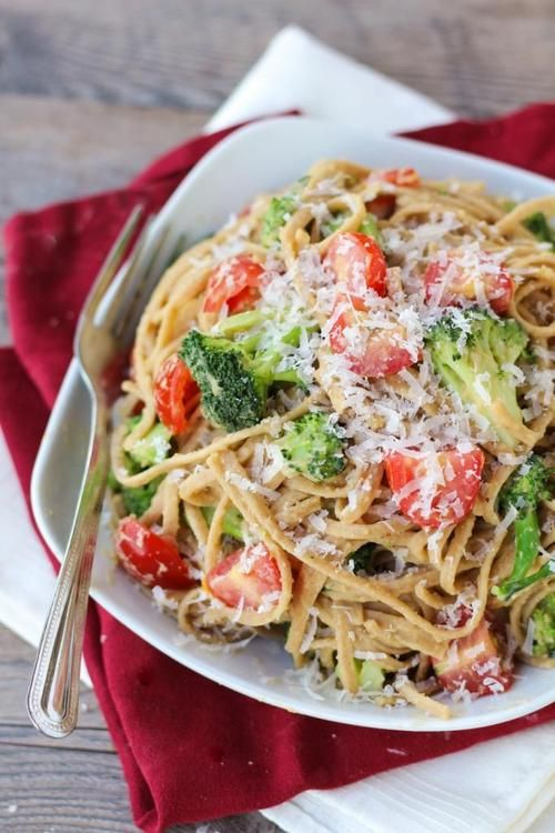 whole wheat pasta with broccoli, tomato, and chickpea sauce.