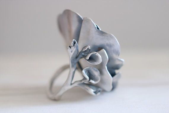 Sterling silver flower ring. From the Ophelia collection. This piece is a one-of-a-kind handmade ring.