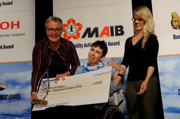 Tasmanian artist Janelle McMillan accepting her Community Achievement Award. Article for www.think-tasmania.com