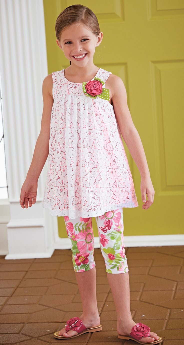 From CWDkids: Lace Top & Floral Capris Set.