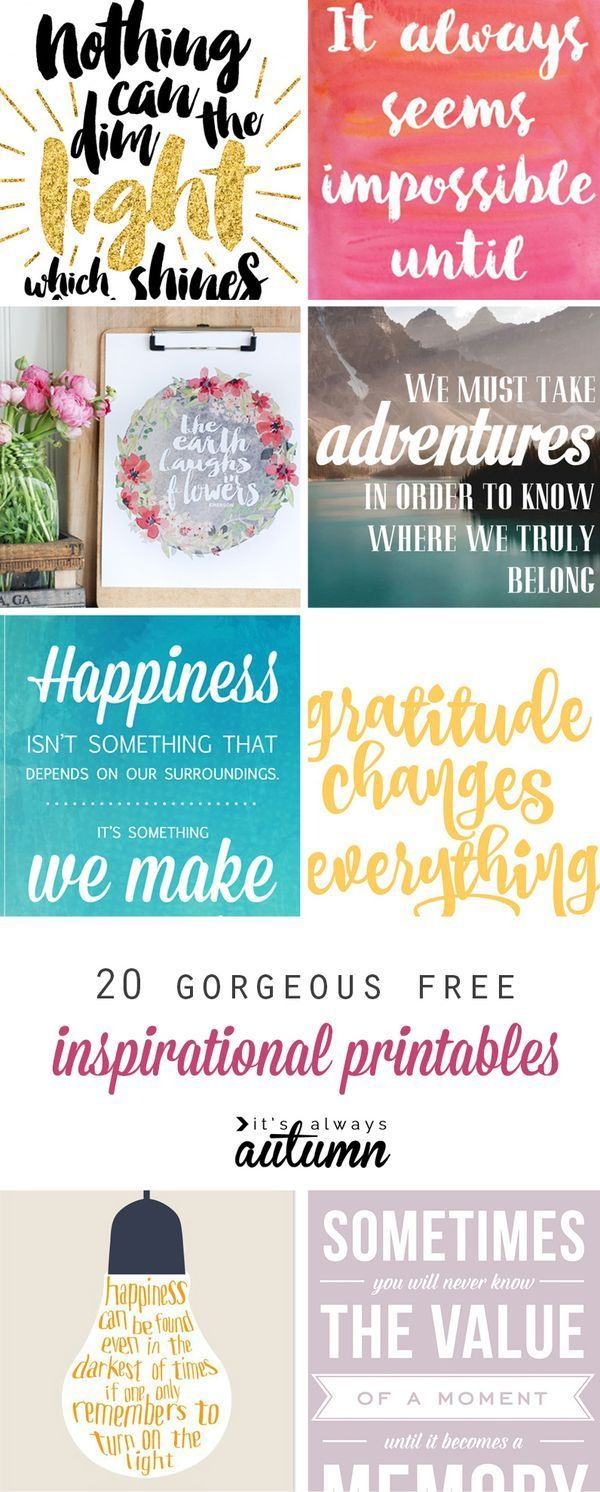 20 gorgeous & modern FREE inspirational quote printables: perfect for DIY wall art, gallery walls, or handmade gifts! Más