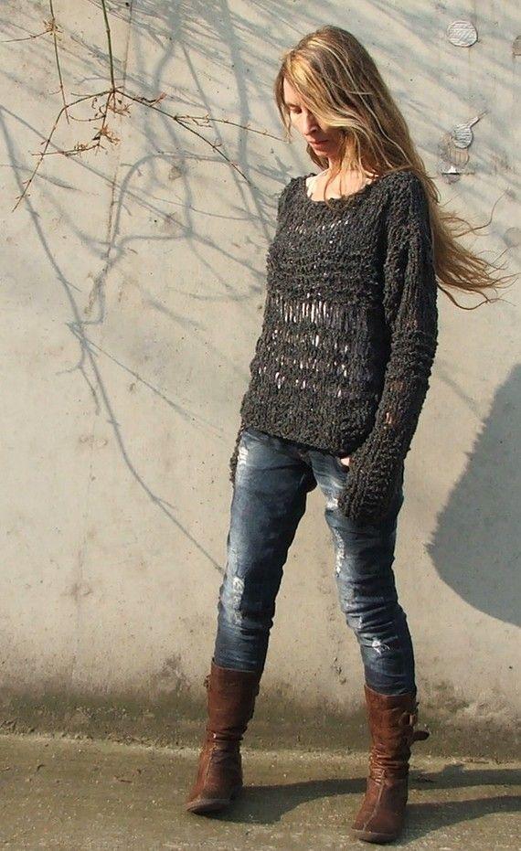 Charcoal grey oversized grunge sweater LTd Edition by ileaiye,