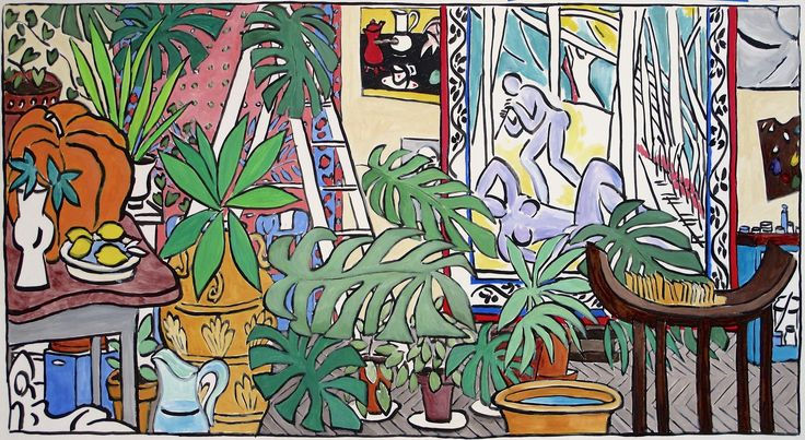 "Damian Elwes ""Matisse's Studio in Nice,"" ink and acrylic on heavyweight Arches paper, 42 x 72 in (1.07 x1.83 m) 2014"