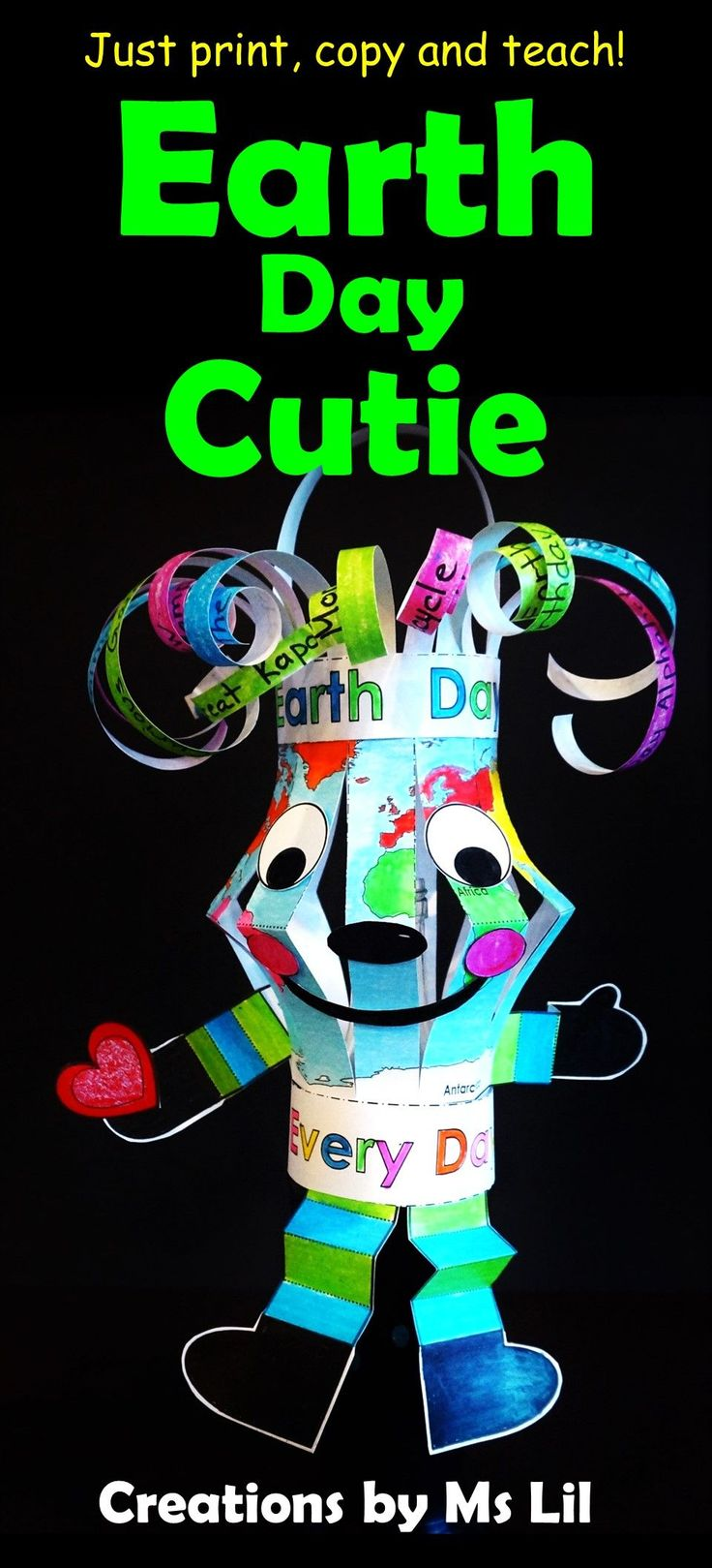 Create this Earth Day Cutie while teaching environmental education. This is the perfect craft to compliment your Earth Day Units.:: :: :: :: :: :: :: :: :: :: :: :: :: :: :: :: :: :: :: Earth Day :: Earth Day Craft :: Fine Motor Crafts :: April 22 :: Earth Day Activities :: Recycling Activities :: Recycling Crafts :: Paper Lantern :: Ms Lil :: Environmental Education :: World Maps :: Globes :: Montessori ::