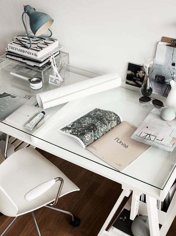 minimal and white desk inspo