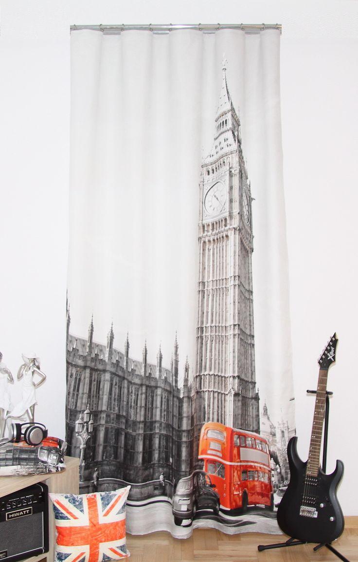 Hotové závěsy 3D s potiskem vzor Londýn
