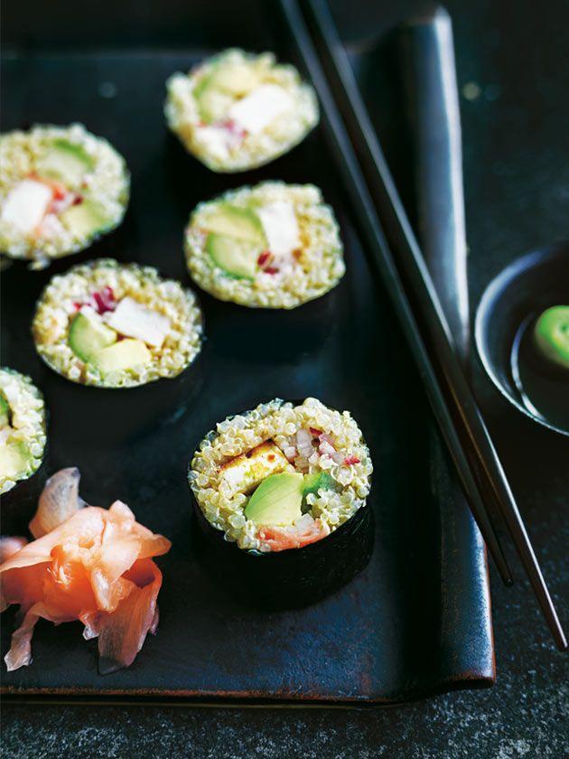 quinoa sushi with chilli tofu and avocado