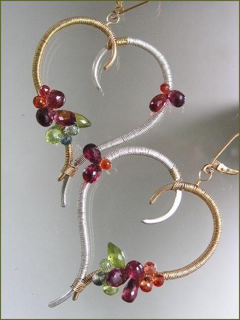 Not so Obvious...Rich Jewel Bestowed Original Sculptural Mixed Metal Stylized Heart Hoop Earrings...made to order.. $198.00, via Etsy.