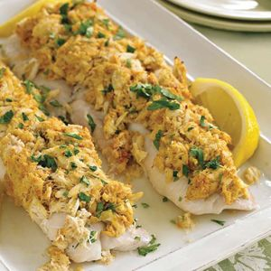 Baked Crab Topped Haddock Seafood Dishes Pinterest