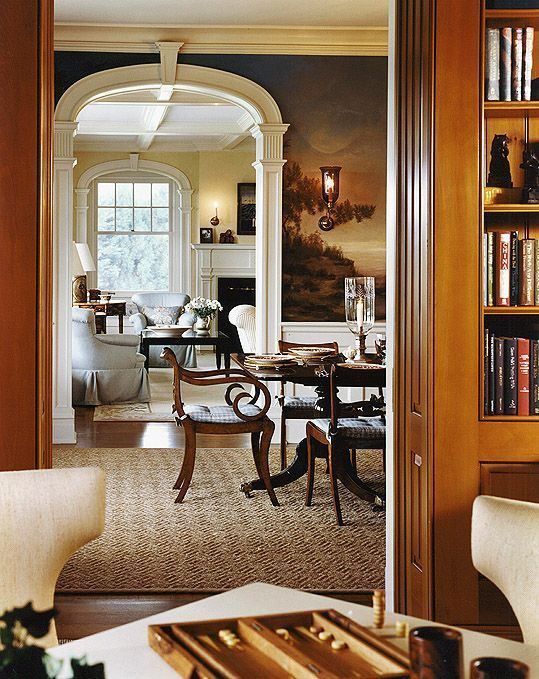 The Foo Dog Ate My Homework- Library into dining room with a gorgeous mural and then living room - traditional and elegant but not stuffy