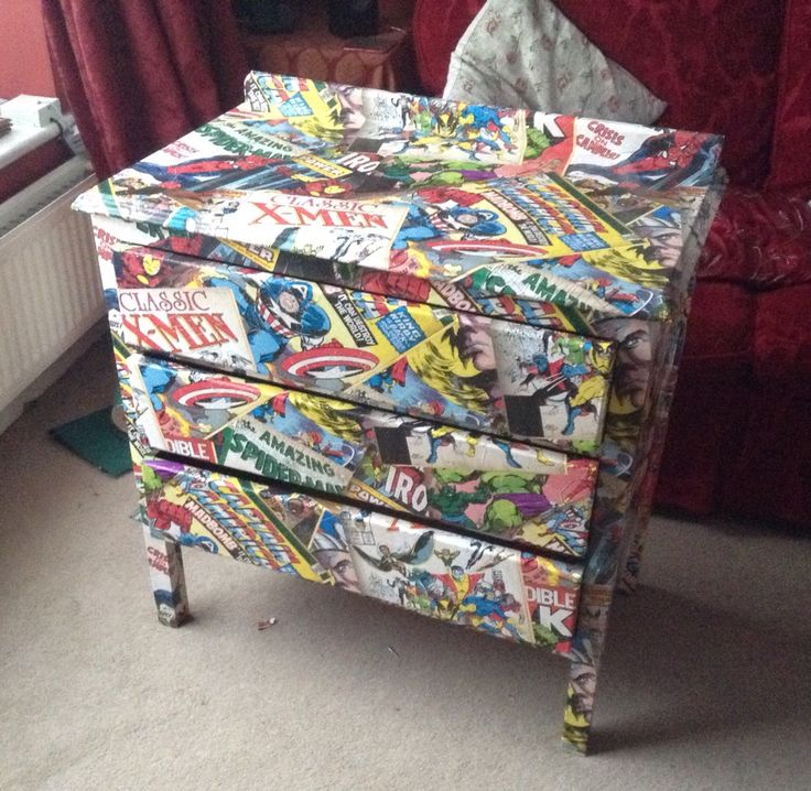 Just finished this Marvel chest of drawers...my first up cycle. Very happy.
