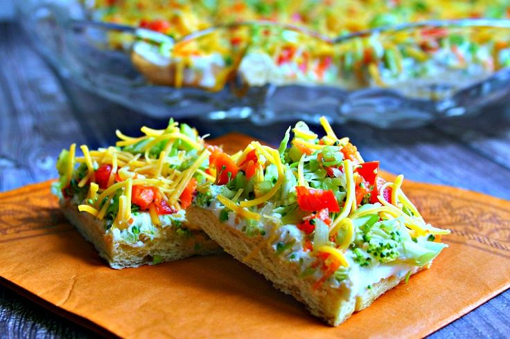 Cool Veggie Pizza Appetizer. Start with refrigerated crescent dough, cream cheese and Ranch-style dressing mix and then top with veggies and cheese
