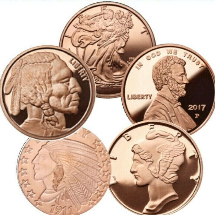INDIAN HEAD NICKEL DESIGN-.999 PURE COPPER BULLION ROUND-LOT OF 20-1 OUNCE