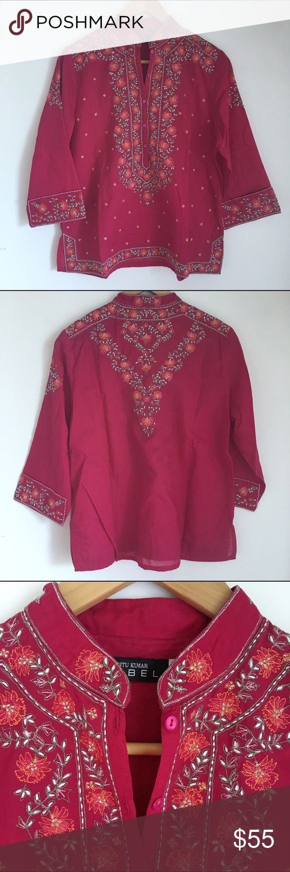 "Designer tunic NWOT never worn. High quality, embroidered. Was a gift from India but didn't fit me.  Popular modern Indian designer. Magenta red color.  Armpit to cuff 12.5"", shoulder seam to cuff 18.5"", shoulder seam to shoulder seam 16"", armpit to armpit 22"", width at bottom hem 23"", shoulder seam to bottom hem 24"". Ritu Kumar Tops Tunics"