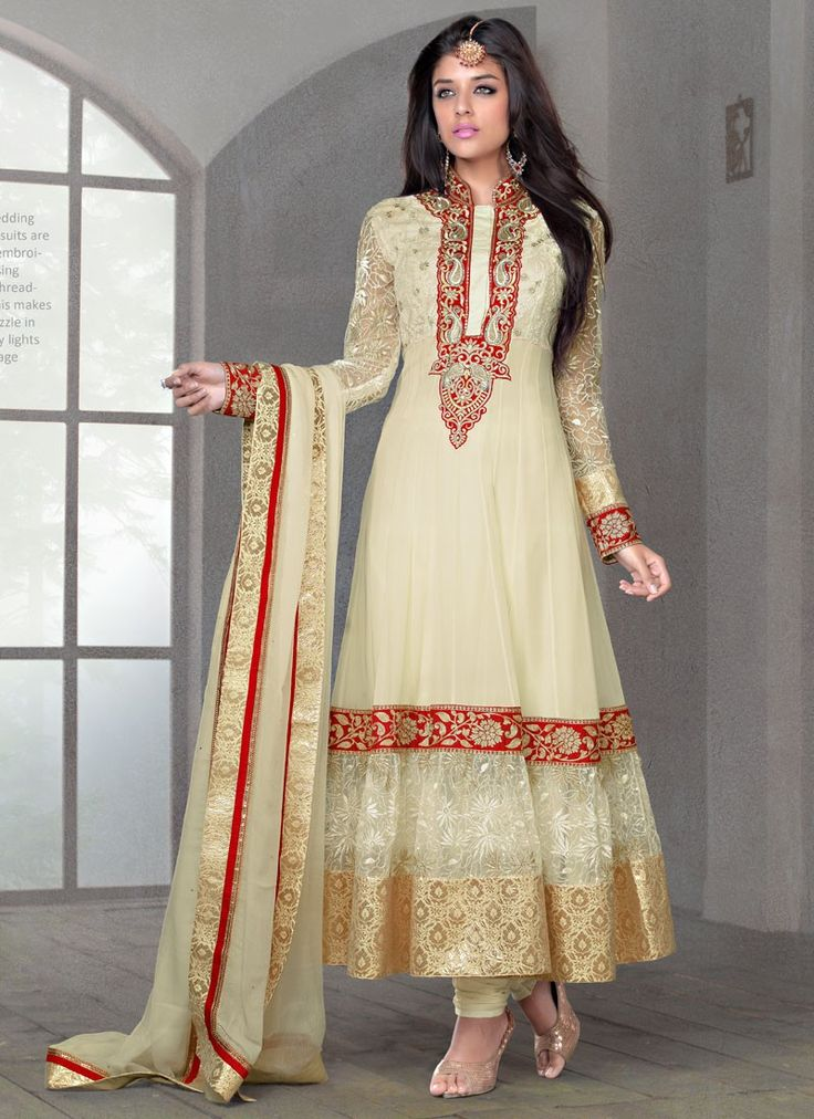 Shop this product from here.. http://www.silkmuseumsurat.in/cream-faux-chiffon-and-net-anarkali-suit?filter_name=4674  Item :#4674  Color: Cream Fabric: Faux Chiffon, Net Occasion: Bridal, Party, Reception, Wedding Style: Anarkali Dress Work: Embroidered, Patch Border, Resham