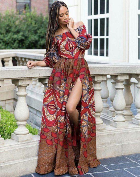 80781c0390 African Print Maxi Dress - Off Shoulder with High Slit - Kente - Ankara -  African Dress - Handmade
