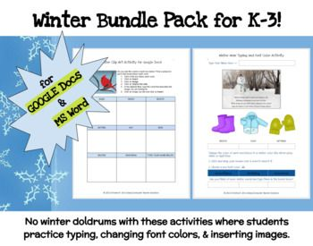 Winter Bundle Pack for Grades K-3! GOOGLE DOCS & MS Word Activities